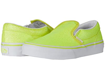 Vans Kids Classic Slip-On (Little Kid) ((Neon Glitter) Yellow/True White) Girls Shoes