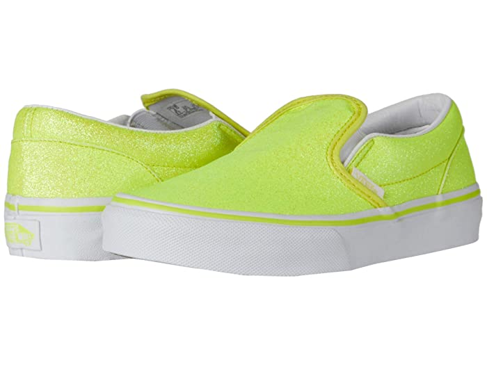 New Vintage Boys Clothing and Costumes Vans Kids Classic Slip-On Little Kid Neon Glitter YellowTrue White Girls Shoes $40.00 AT vintagedancer.com