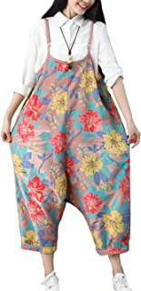 Women's Loose Baggy Cotton Wide Leg Drop Crotch Cropped Jumpsuit Rompers Overalls