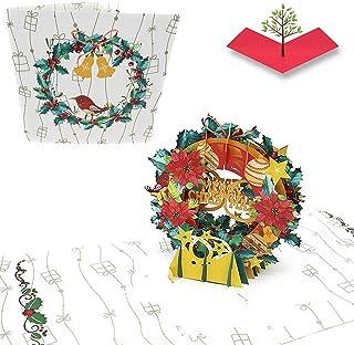 comprar comparacion PopLife - Tarjeta de felicitación navideña con diseño de corona de Navidad, hecha a mano en 3D, con texto en inglés