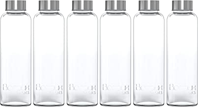 Boroux Basics Reusable Glass Water Bottles BPA/BPS Chemical Free, Premium Soda Lime Glass 18 oz, 6 Pack of Reusable Drinking Bottles, Leak Proof Stainless Steel Cap. Great for Water, Juice, Kombucha