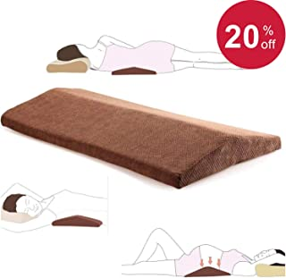 Lumbar Pillow for Sleeping Back Pain - Soft Memory Foam Sleeping Pillow for Lower Back Pain, Orthopedic Bed Cushion for Back & Side Sleepers, Lumbar Support Cushion for Leg, Knee & Hip Pain, Brown