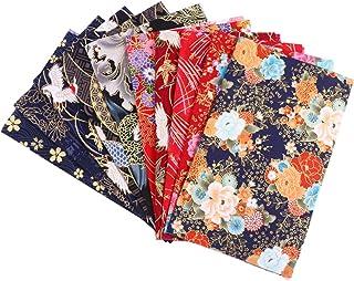 KESYOO 10 peças de lençóis de tecido de algodão para costura de colcha, padrão de flores, tecido estilo japonês, patchwork...