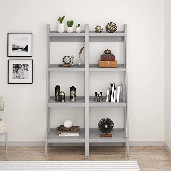 Ameriwood Home Lawrence 4 Shelf Ladder Bookcase Bundle Dove Gray