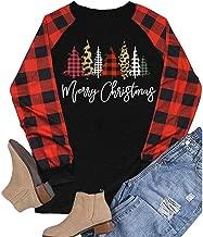HAPPIShare Merry Christmas T Shirt Womens Plaid Leopard Printed Tree Baseball T-Shirt Funny 3/4 Sleeve Graphic Tops Tees