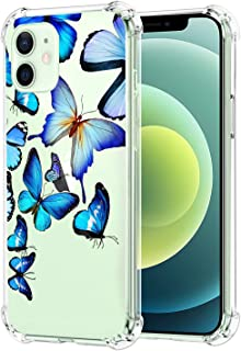 Aweevnye Case Compatible with iPhone 12 Pro Max 2020, Crystal Clear Fashion Butterfly Design Transparent Soft TPU Ultra-Th...