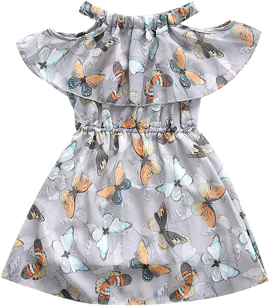 1-14 A/ños,SO-buts Ni/ños Adolescentes Ni/ñas Verano Florals Vestidos De Princesa del Partido del Tul del Hombro del Volante De La Mariposa Vestidos