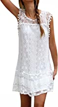StyleDome Women's Sleeveless Lace Patchwork Loose Casual Summer Dress