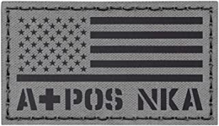 IR Wolf Gray USA Flag APOS A+ Blood Type NKA NKDA Infrared Tactical Morale Fastener Patch