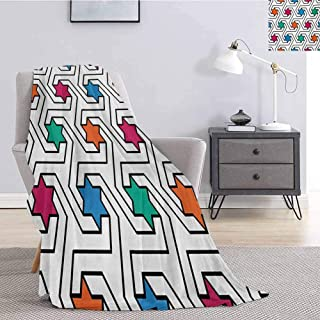 Luoiaax Star Fluffy Blanket Microfiber Colorful Stars on Abstract Pop Art Geometric Pattern Modern Teen Room Rock Punk Theme Print Soft Warm Plush Blanket W57 x L74 Inch Multi