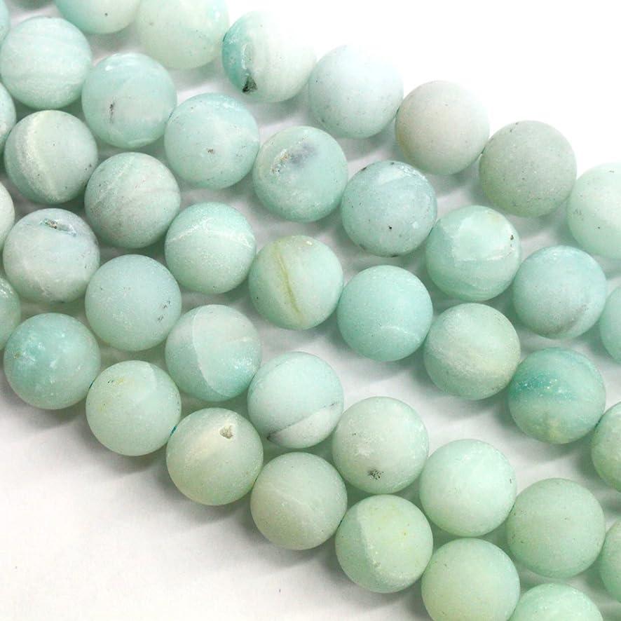 Natural Genuine Amazonite Unpolished Matte Round Real Gemstone Jewelry Making Loose Beads (10mm)