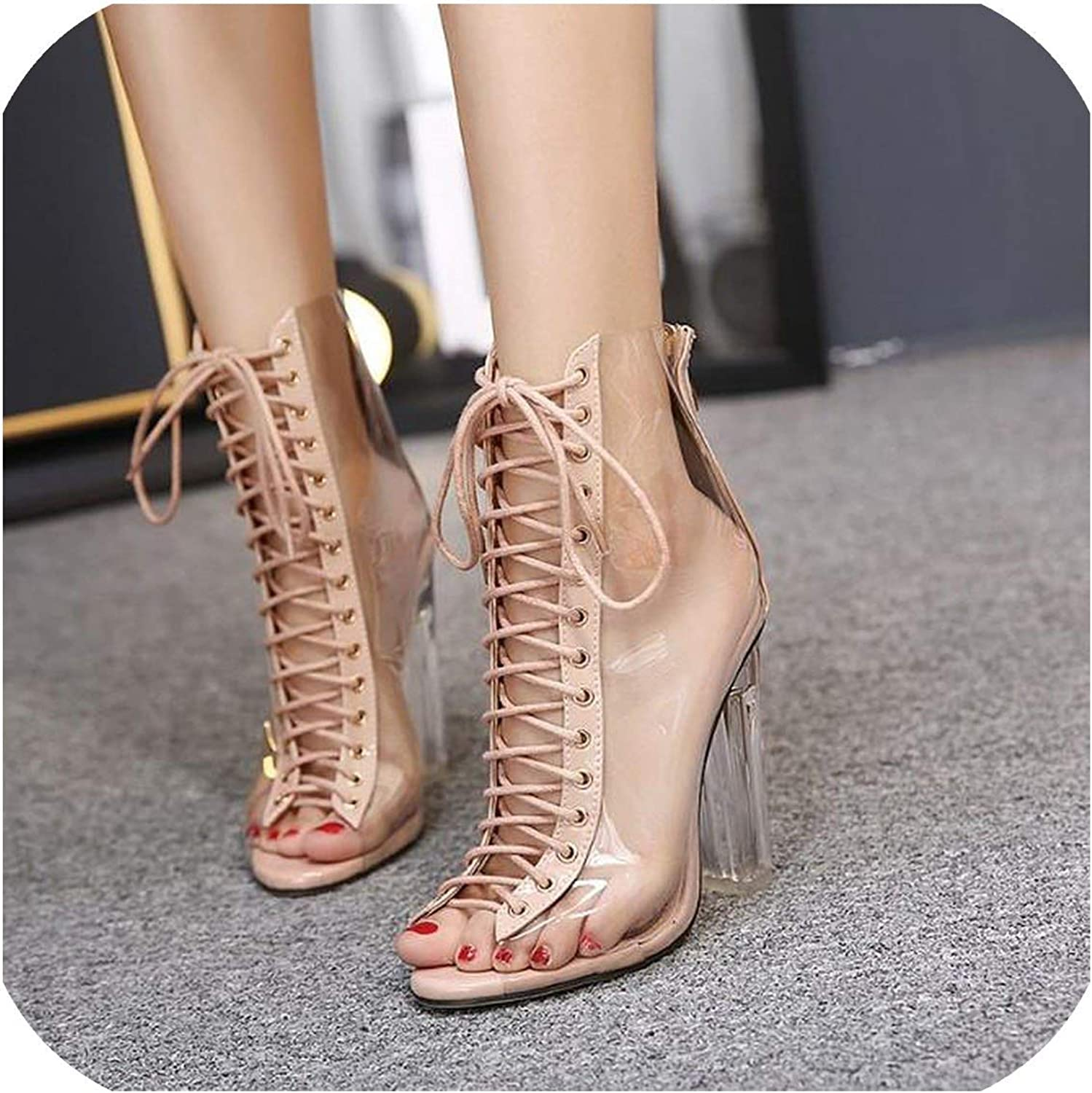 Beauty-inside Sexy PVC Transparent Gladiator Sandals Cross Strappy Peep Toe Clear Chunky Heels Women Ankle Boots