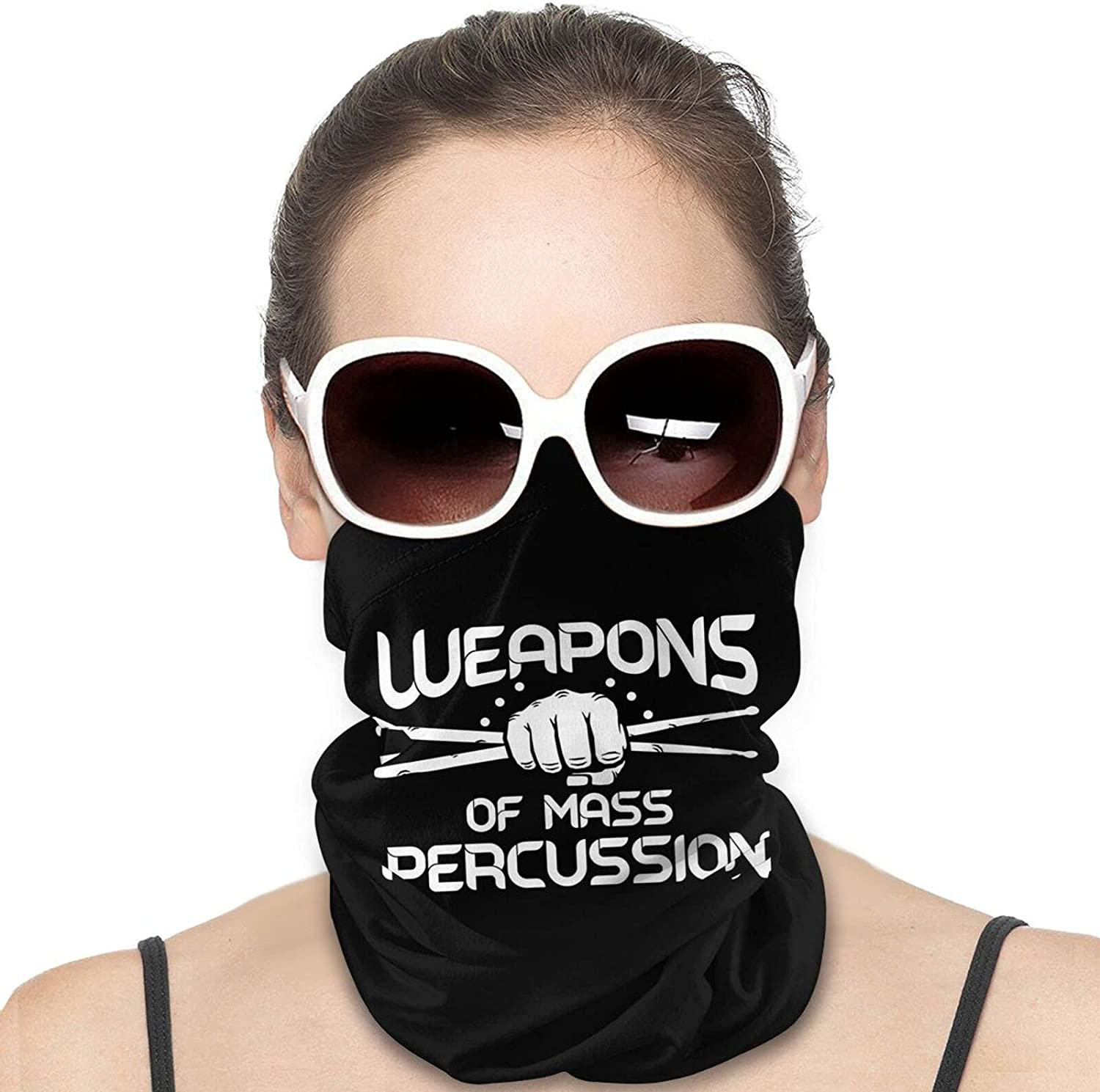 Weapons of Mass Percussion Round Neck Gaiter Bandnas Face Cover Uv Protection Prevent bask in Ice Scarf Headbands Perfect for Motorcycle Cycling Running Festival Raves Outdoors