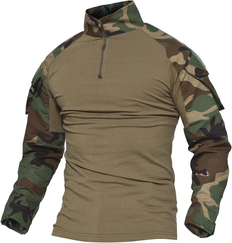 MAGCOMSEN Men's Tactical Military Shirts Camo Zip Oakland Mall Branded goods 1 Long 4 Shirt