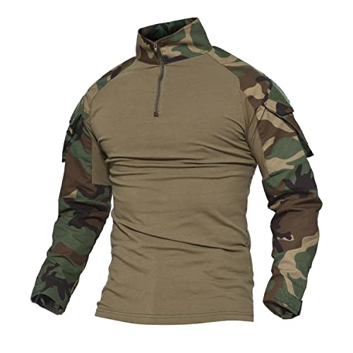 MAGCOMSEN Men's Tactical Military Shirts 1/4 Zip Long Sleeve Slim Fit Camo Shirt