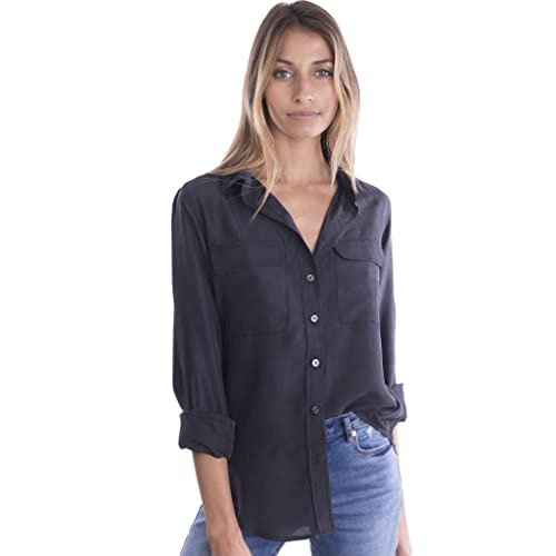 53c253d70 CAMIXA Womens 100% Silk Blouses Ladies Shirt Casual Pocket Button up  Elegant Top