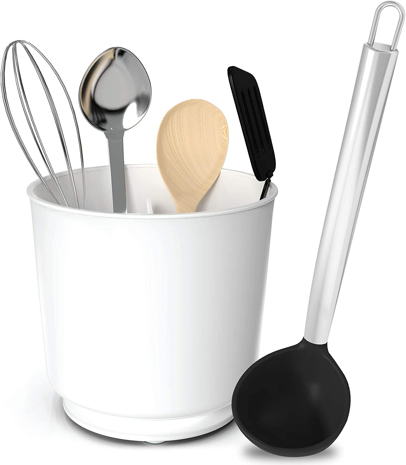 Extra Large Rotating Utensil Holder Caddy & Silicone & Stainless Steel  Black 20 Ounce Soup Ladle