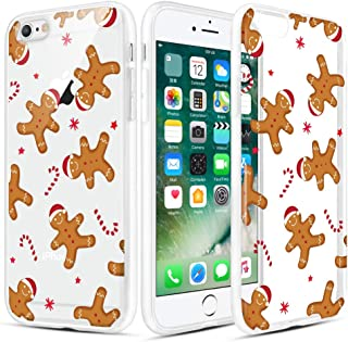 Caka Christmas Case for iPhone 6, iPhone 6s Clear Floral Case with Christmas Design for Girls Women Girly Cute Slim Soft Premium TPU Protective Case for iPhone 6/6s (Gingerbread Man)