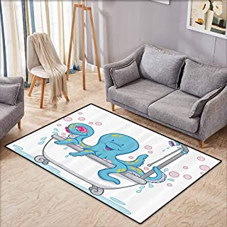 Bath Rug Slip Octopus Decor Collection Cartoon Illustration of Cute Octopus Taking a Bubble Bath in Tub with Soap in Tentacles White Blue Quick and Easy to Clean W4'9 xL3'9