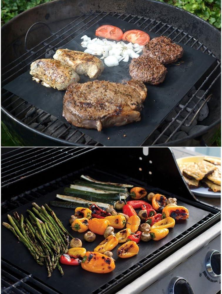 Tong Yue Tapis de cuisson anti-adhésif résistant à la chaleur pour barbecue Noir, 3 pièces + boîte (noir) + 1 pinceau. Doré