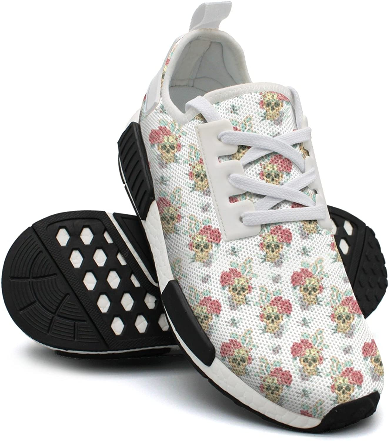 Skulls and Bueaty Flowers Women's Vintage Lightweight Volleyball Sneakers Gym Outdoor Sports shoes