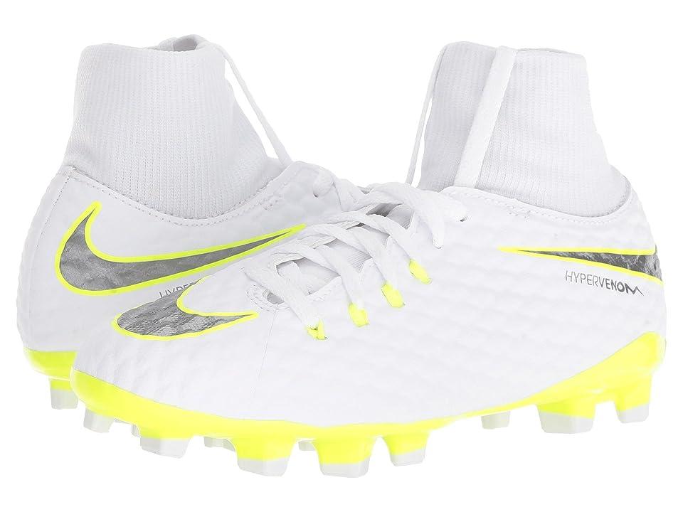 Nike Kids Jr. Hypervenom Phantom 3 Academy Dynamic Fit FG Soccer (Little Kid/Big Kid) (White/Metallic Cool Grey/Volt/Metallic Cool Grey) Kids Shoes