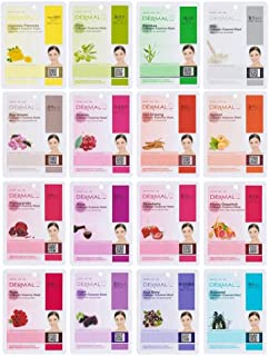 DERMAL 16 Combo Pack B Collagen Essence Full Face Facial Mask Sheet - The Ultimate Supreme Collection for Every Skin Condition Day to Day Skin Concerns. Nature Made Freshly Packed Korean Face Mask