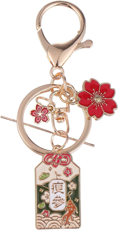 BESTOYARD 2pcs Feng Shui Key Chains Japanese Keychains with Cherry Blossoms Good Fortune Keychain Decorative Keyring Charm Pendant for Purse Handbag Car Key