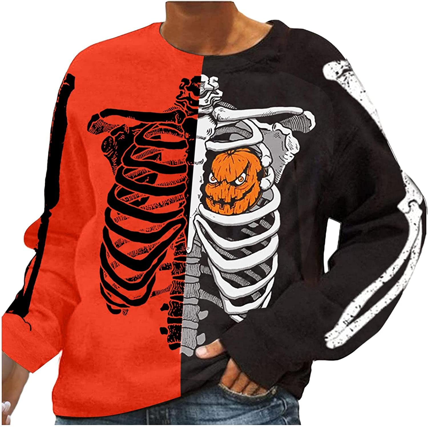 Jaqqra Halloween Sweatshirts for Women Casual Pullover Skeleton Print Graphic Crewneck Long Sleeve Sweaters Tops Shirts