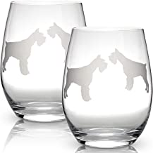 Schnauzer Stemless Wine Glasses (Set of 2) | Unique Dog Lovers | Hand Etched with Breed Name on Bottom