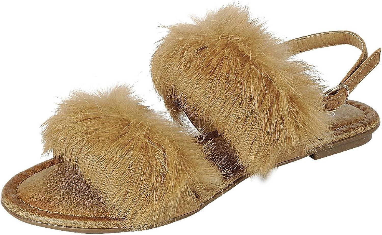 Cambridge Select Women's Open Toe Faux Fur 2 Strap Slingback Flat Sandal