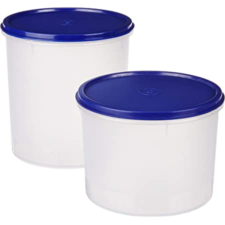 Amazon Brand - Solimo Round Plastic Container, Set of 2, Blue