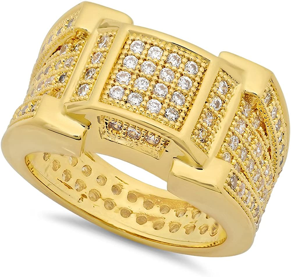 Max 45% OFF The Bling Factory 14k Gold Plated 13.5mm Micropave Framed Fashion Squ CZ