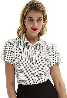 Belle Poque Womens Polka Dots Short Sleeve Blouse Button Down Shirt Top