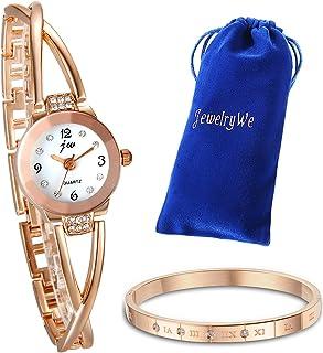 JewelryWe Juego de Pulsera con Reloj Oro Rosa Plateado para Mujer, Moda Reloj de Diamantes Brillantes con Pulsera, Regalos...