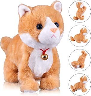 Yellow Robot Cat Plush Cat Stuffed Animal Interactive Cat , Meow Kitten Touch Control, Electronic Cat Pet, Robotic Cat Cat Kitty Toy, Animated Toy Cats for Girls Baby Kids L:12