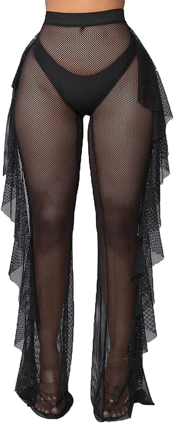Yoawdats Women's Perspective Sheer Mesh Ruffle Pants Swimsuit Bikini Bottom Cover up Pants, Womens Swimsuit Cover ups