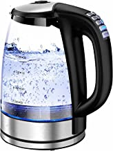 Chaleira elétrica de temperatura variável de 2,0 litros de vidro para chá e café mantém a função de manter a função de pro...