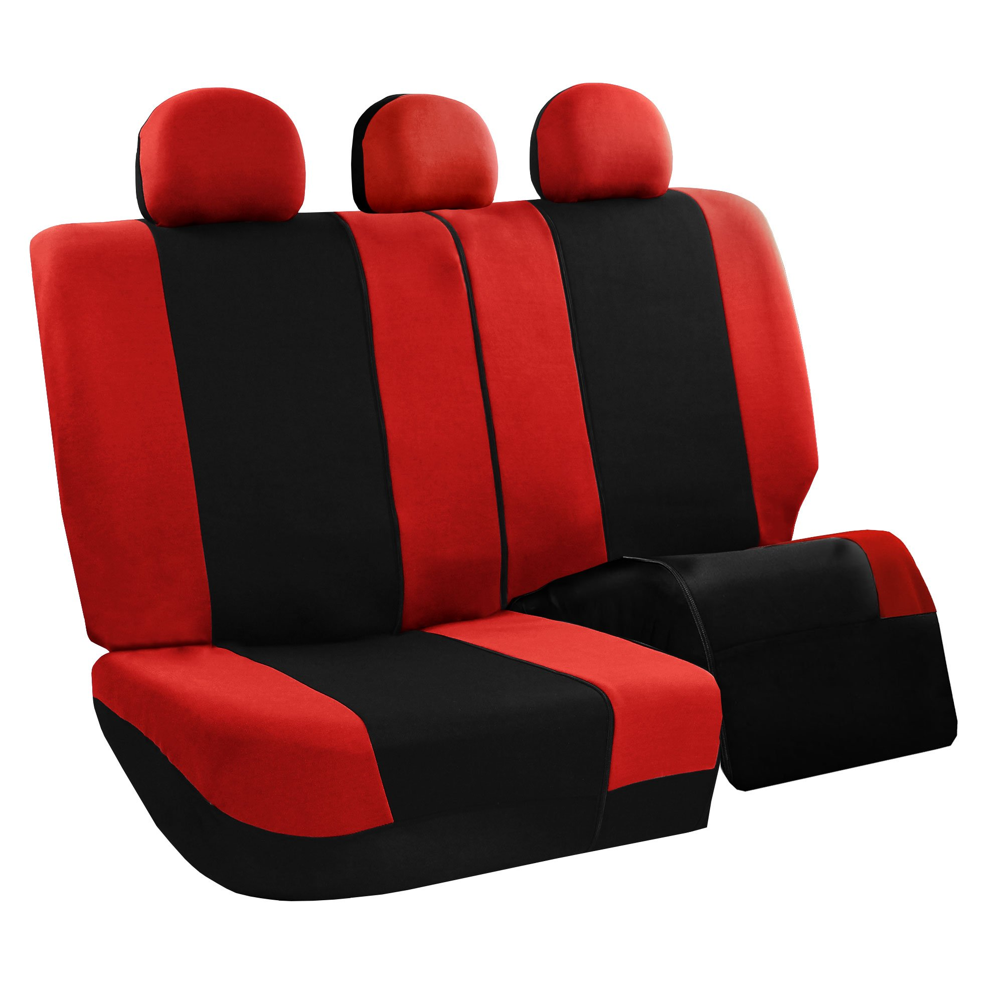 FH Group FB030RED115WB-AVC Red Combo Set with Steering Wheel Cover and Seat Belt Pad (Airbag Compatible and Split Bench