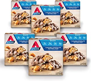 Atkins Snack Bar, Caramel Chocolate Nut Roll, Keto Friendly, 30 Count (Value Pack)