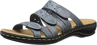 CLARKS Women's Leisa Cacti Slide Sandal, Denim Blue Leather, 7 M US