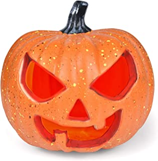 FUN LITTLE TOYS Halloween Decorations Light Up Pumpkin, 8 Inch Large Size Battery Operated Pumpkin with Creepy Sounds, Indoor and Outdoor (Battery Included)