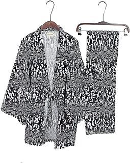 Men's Japanese Style Robes Pure Cotton Kimono Pajamas Suit Dressing Gown Set-#04