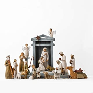Willow Tree Nativity Premier Plus Shepherds, Animals and Angels, 24-Piece Sculpted Figure Set