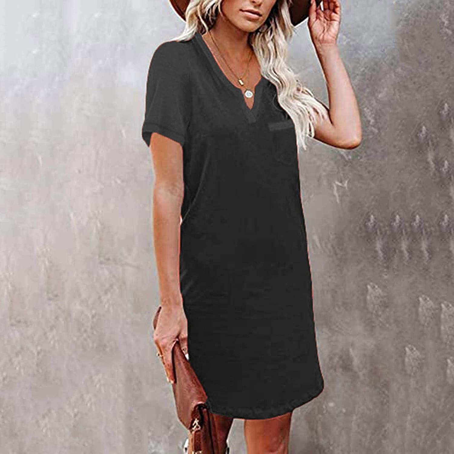 Kcocoo Women's Summer Casual Short Dress V Neck Solid Short Sleeve Sundress With Pockets Wear to Work Party Pencil Dress