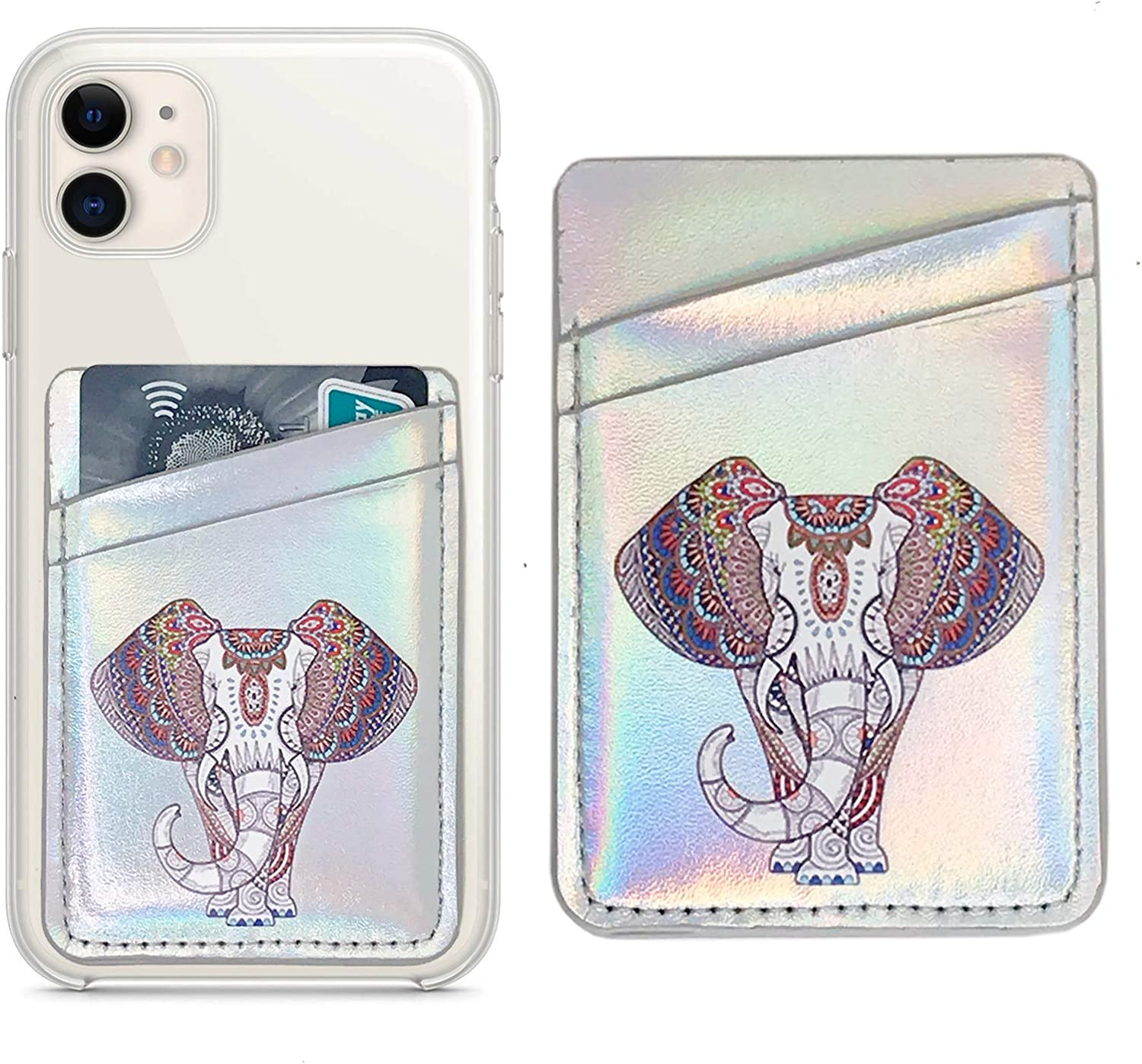 Oddss Cell Phone Card Hoder Sleeves RFID Blocking PU Leather Pocket Wallet Stick on Cell Phone Credit for Back of iPhone,Android Smartphones (Elephant)