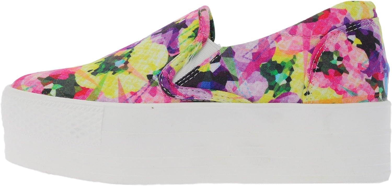 Maxstar C7 50 Flower Denim White Platform Slip on Sneakers