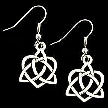 Celtic Heart Earrings, Silver Earrings on French style Ear Wire, Surgical Steel Ear Wire for Sensitive Ears, Hypoallergenic, Lightweight, Unique