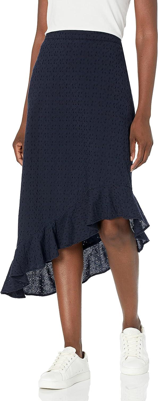 J.Crew Mercantile Women's Asymetrical Eyelet Ruffle Midi Skirt