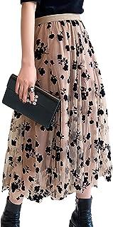 SSPalu Women Tutu Tulle Skirt Elastic High Waist Layered Skirt Floral Print Mesh A-Line Midi Skirt